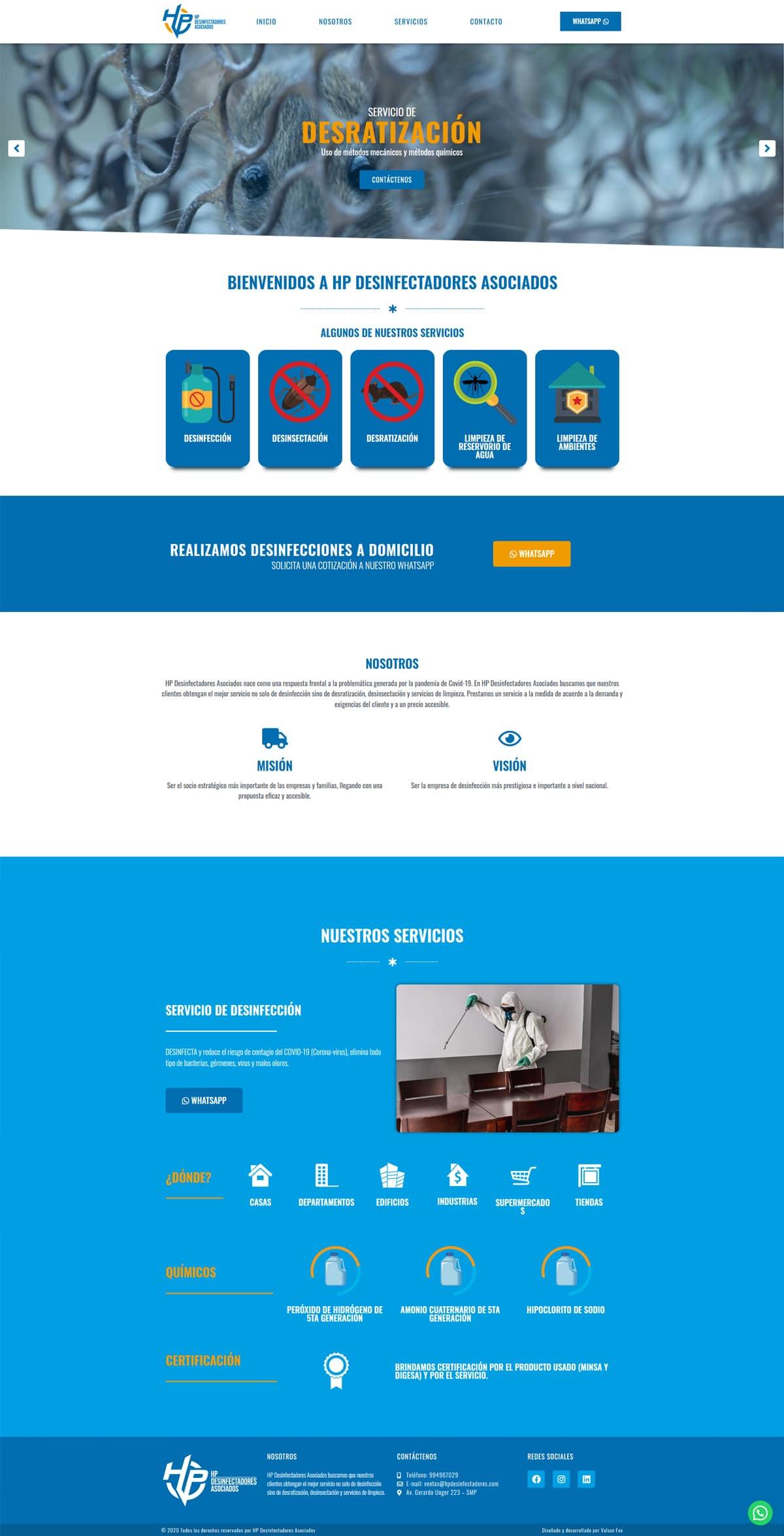 Diseño de página web HP Desinfectadores