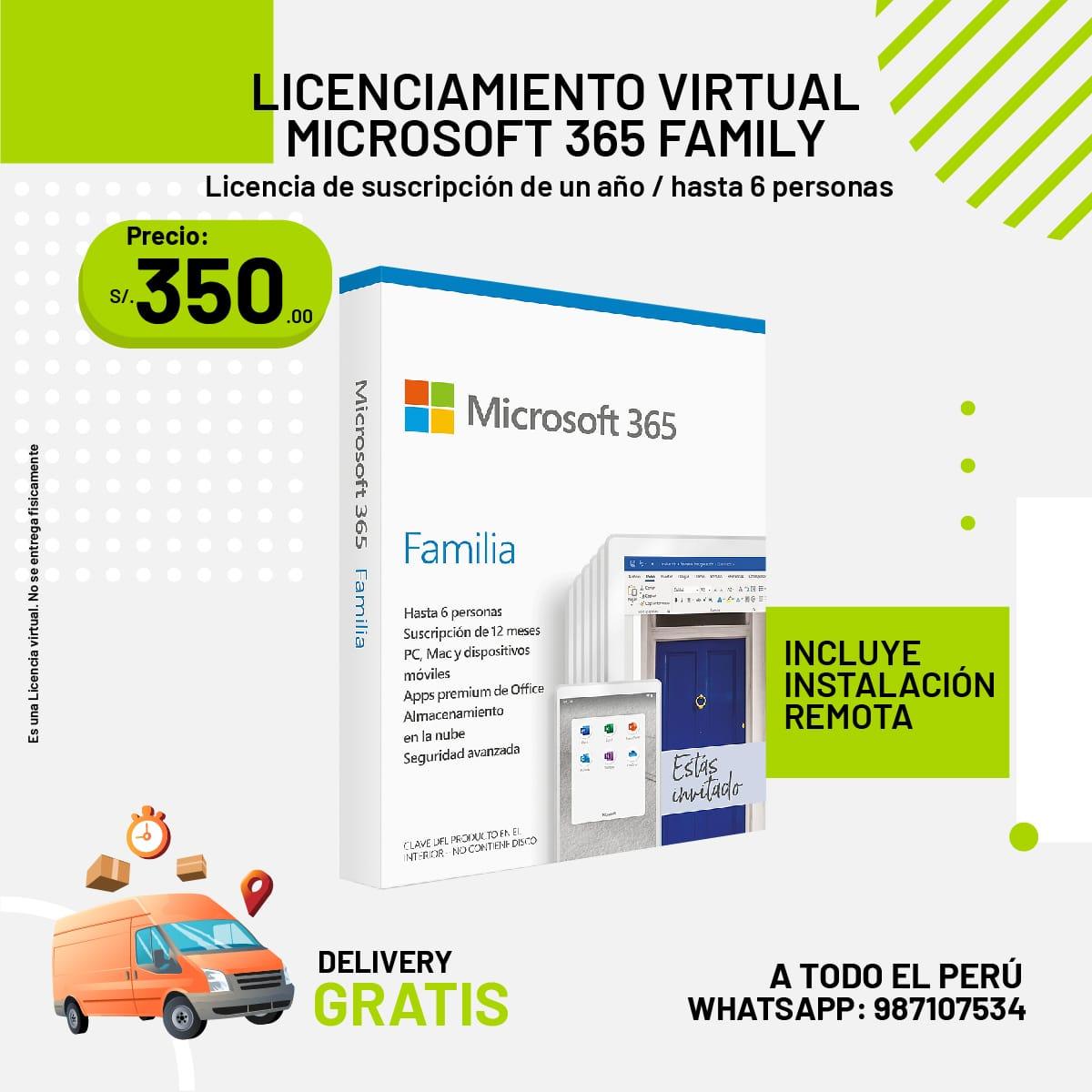 LICENCIAMIENTO VIRTUAL MICROSOFT 365 FAMILY